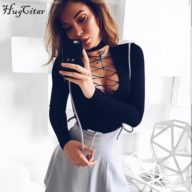 Hugcitar long sleeve V-neck bandage bodycon sexy bodysuit 2017 women black solid hollow out casual fashion lace up body
