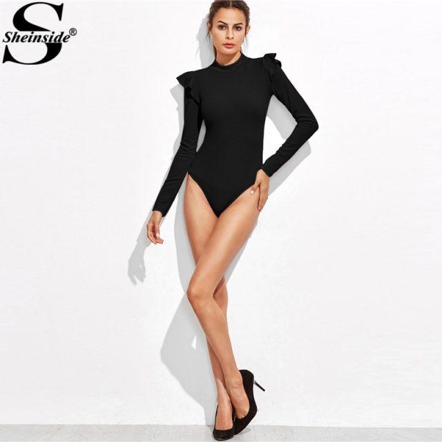 Sheinside Mock Neck Frill Detail Textured Elegant Bodysuit Women Black Stand Collar Long Sleeve Mid Waist Skinny Bodysuit