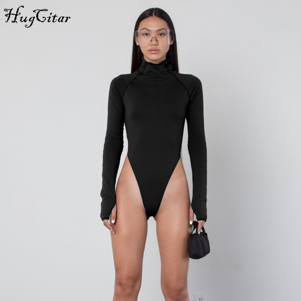 Hugcitar long sleeve high neck bodycon sexy Christmas bodysuit 2018 autumn winter women fashion casual body