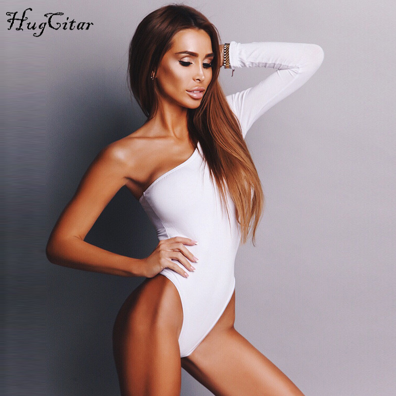 Hugcitar cotton one shoulder slope neckline bodysuit single long sleeve 2018 autumn Women sexy black solid swimsuit  female