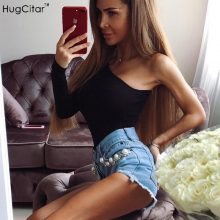 Hugcitar cotton one shoulder slope neckline bodysuit single long sleeve 2018 autumn Women sexy black solid swimsuit  female