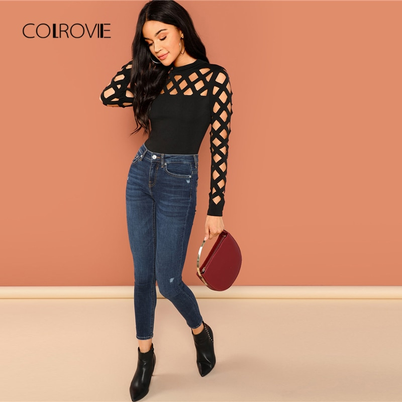 COLROVIE Solid Mock Neck Geo Cut Out Skinny Black Bodysuit Women Autumn Long Sleeve Sexy Body Office Female Basic Bodysuits