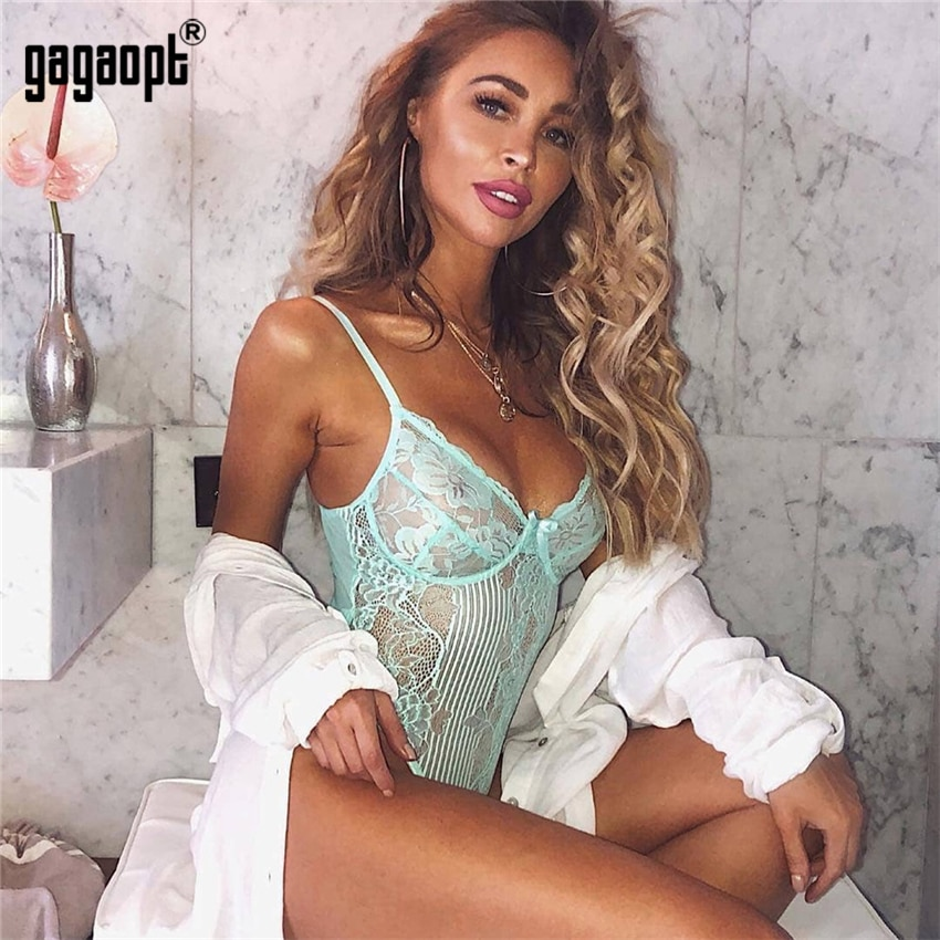 Gagaopt 2019 Spring 12 Colors Lace Bodysuit Women Floral Embroidery Bow Tie Hollow Out Sexy Bodysuit Jumpsuit Overalls Party