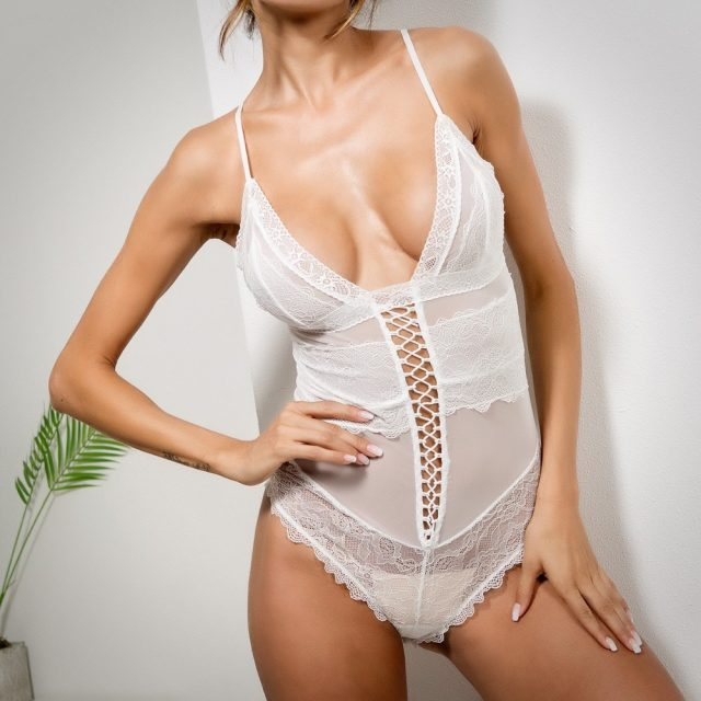 Cryptographic V neck lace sheer bodysuit straps sexy jumpsuits romper 2018 summer hot teddies catsuit women bodycon bodysuit