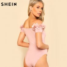 SHEIN Sexy Bodysuit Pink Short Sleeve Mid Waist Party Wear Skinny Bodysuit Flower Applique Off the Shoulder Bodysuit