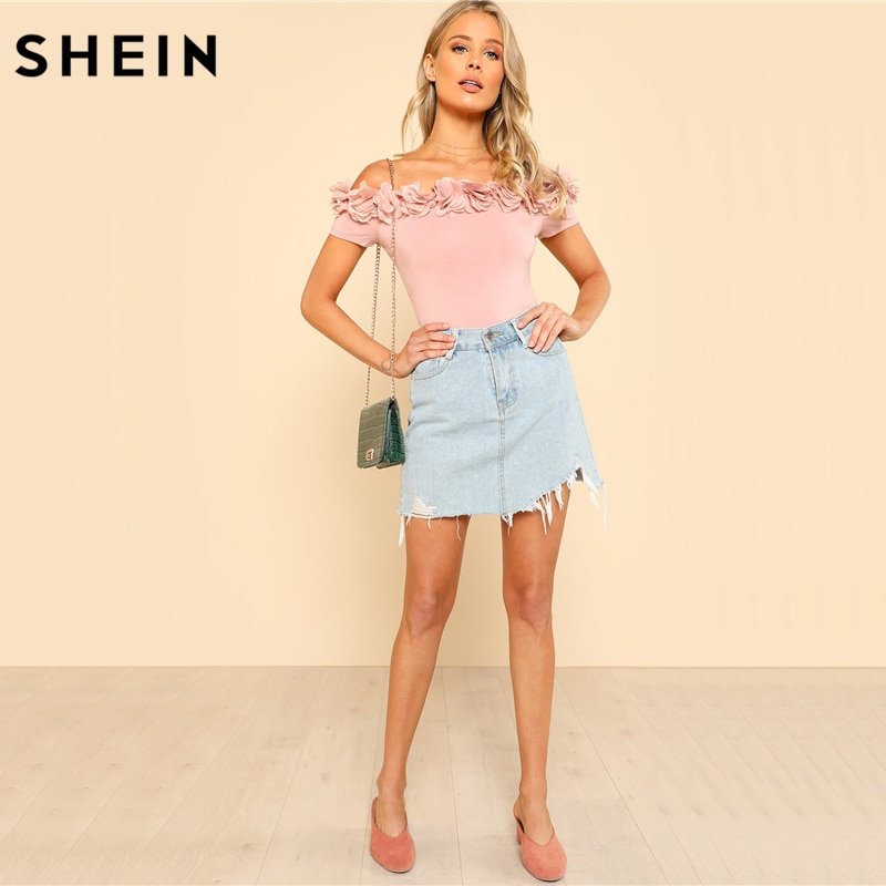 SHEIN Sexy Bodysuit Pink Short Sleeve Mid Waist Party Wear Skinny Bodysuit Flower Applique Off the Shoulder Bodysuit