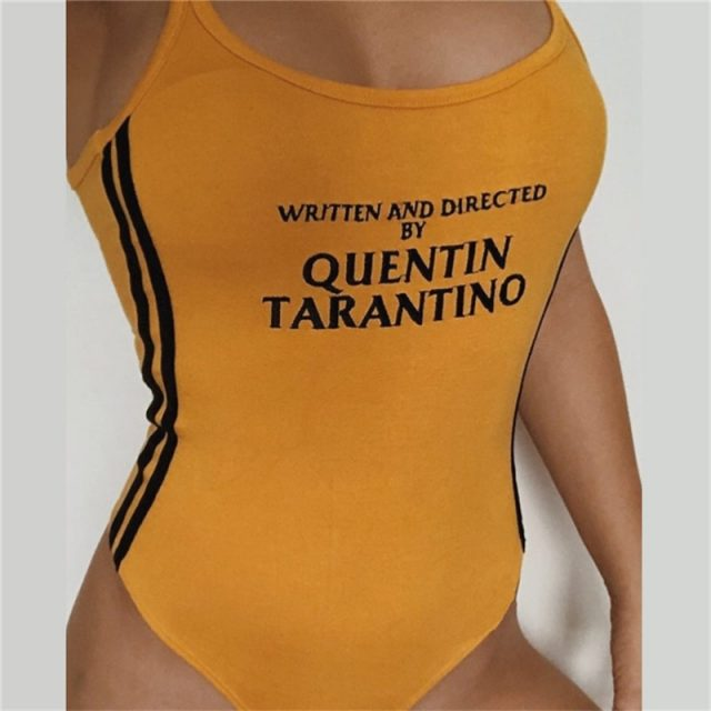 Body Tarantino Sexy Bodysuits 2018 Summer Women O-Neck Bodycon Skinny Jumpsuits Romper Button Yellow Letter Print Bodysuit S-XL