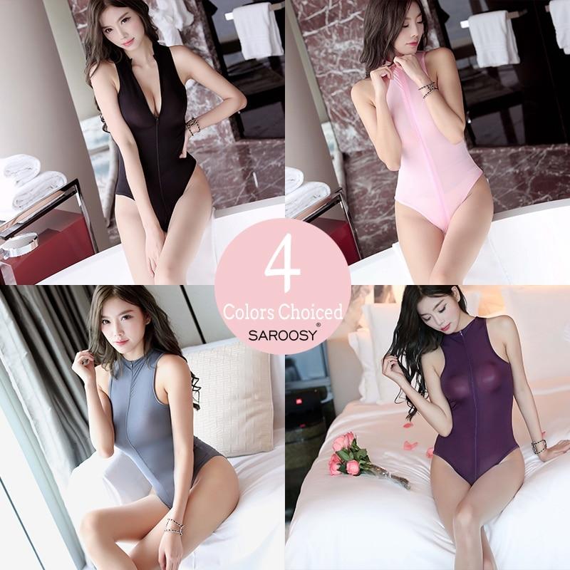 SAROOSY Sheer High Collar Sleeveless Sexy Bodycon Bodysuit 2018 Clubwear for Women Night Secret Zipper Crotch Series