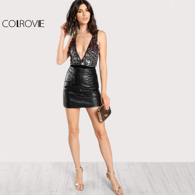 COLROVIE Contrast Sequin Plunging Cami Bodysuit Deep V Neck Sleeveless Mid Waist Sheer Bodysuit Women Sexy Bodysuit