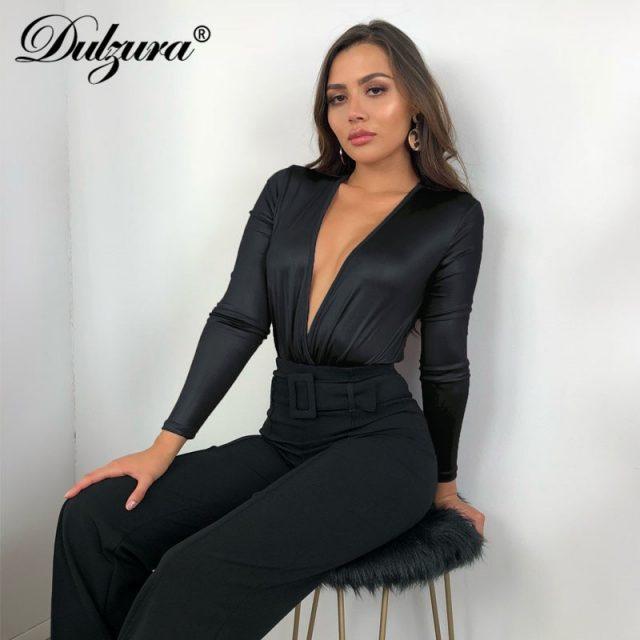 Dulzura women bodysuit v neck splice sexy 2018 autumn winter bright black fashion body female Christmas long sleeve smocking new