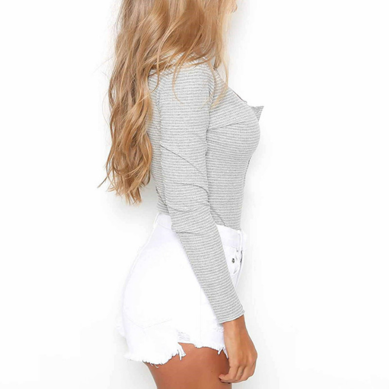 Women's Scoop Henley Neck Sexy Bodysuit Long Sleeve Cotton Striped Leotard Body Mujer Skinny Jumpsuit Autumn Winter Romper M0033