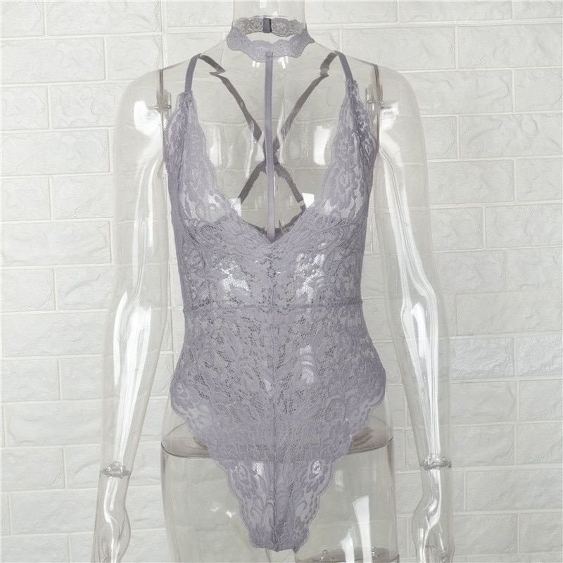 Gtpdpllt Sexy Halter lace bodysuit Women Skinny 2018 hollow out black Grey jumpsuit romper body feminino overalls mesh playsuit