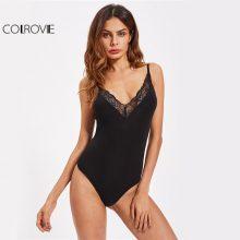 COLROVIE Vintage Lace Bodysuit Black Basic Slim Women Sexy Plunge Neck Summer Bodysuits Fashion Elegant Strap Cami Bodysuit