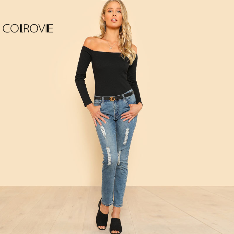 COLROVIE Black Off The Shoulder Long Sleeve Bodysuit Women Solid Bardot Neck Skinny Rompers 2018 Spring Elegant Bodysuit