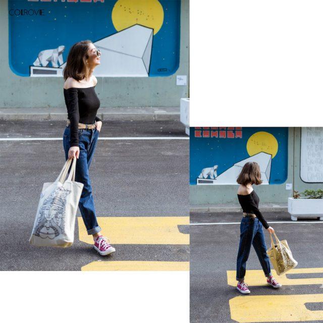 COLROVIE Black Off The Shoulder Long Sleeve Bodysuit Women Solid Bardot Neck Skinny Rompers 2018 Spring Elegant Bodysuit