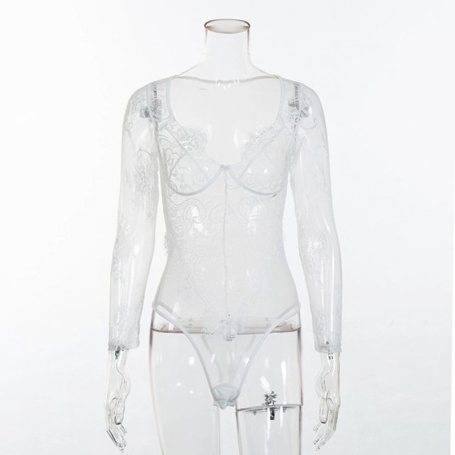 Cryptographic mesh splice eyelash lace bodysuit hollow out sexy long sleeve jumpsuit romper 2018 autumn women bodysuits catsuit