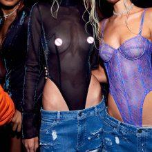 7Mang 2019 Summer Sexy Transparent Bodysuit Women Long Sleeve See Through Turtleneck Black Jumpsuits Glitter Mesh Playsuits 1228