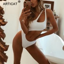 Articat White One Shoulder Bodysuit Women Summer Top Sleeveless Hollow Out Bodycon Rompers Sexy Jumpsuit Women Beach Overalls