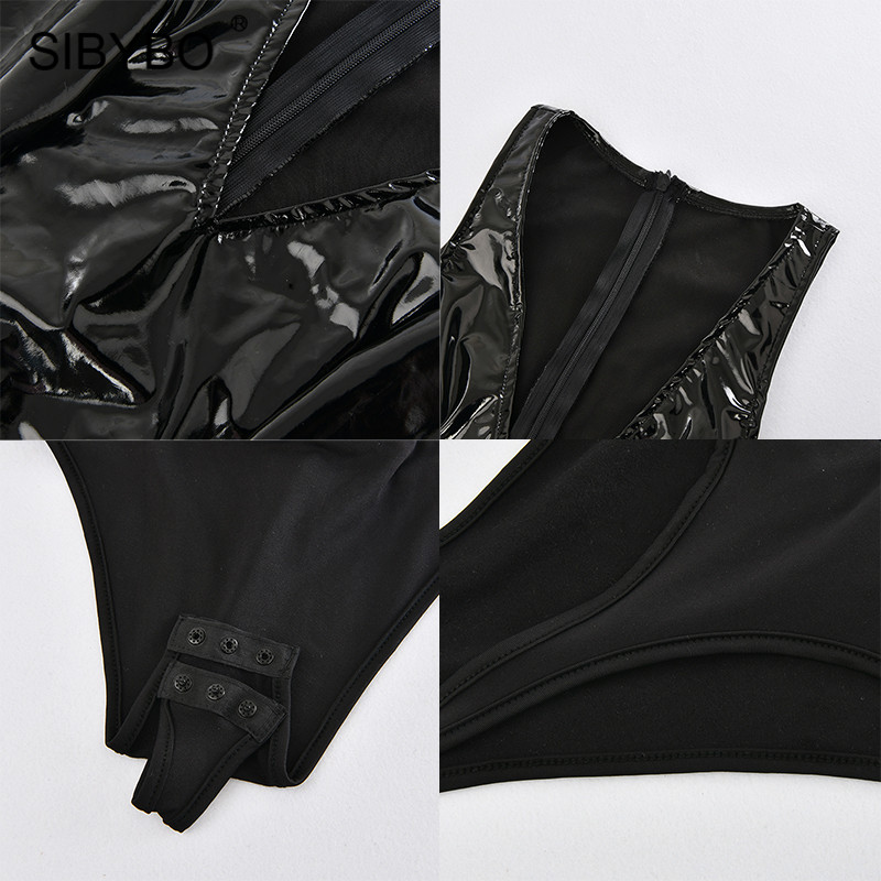 Sibybo V-Neck PU Leather Skinny Sexy Women Bodysuit Sleeveless Patchwork Summer Romper Women Beach Casual Ladies Bodysuits