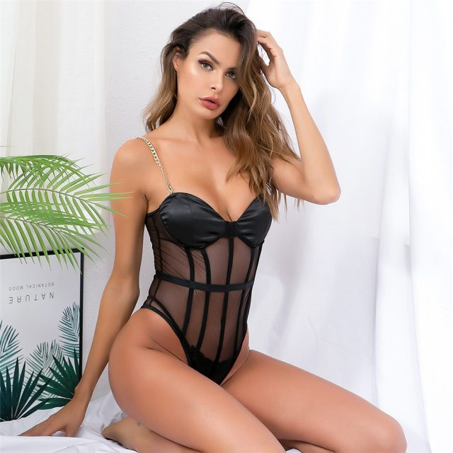 Sexy Black Satin Mesh perspective Summer bodysuit women Lace Up Metal chain bandage jumpsuit beach party Night club overalls New