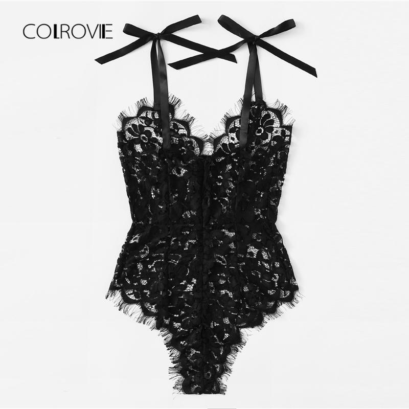 COLROVIE Black Solid Sexy Eyelash Lace Teddy Bodysuit Summer New Sexy V Neck Bodysuit Women Clothing Skinny Girls Lace Bodysuit