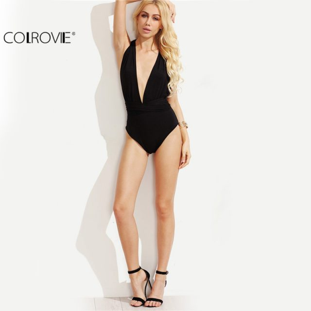 COLROVIE Plunge Neck Backless Sheath Bodysuit Ladies  Black Deep V Neck Multiway Cross Wrap Sleeveless New Bodysuit