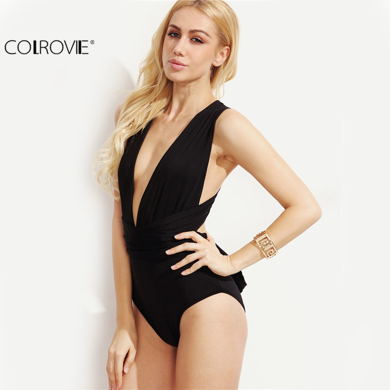 COLROVIE Plunge Neck Backless Sheath Bodysuit Ladies  Black Deep V Neck Multiway Cross Wrap Sleeveless New Bodysuit