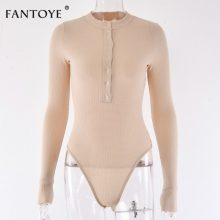 Fantoye Sexy Long Sleeve Bodysuits Women 2018 Autumn Winter Black Slim Bodycon Jumpsuits Rompers Ladies Stretchy Bodysuit Tops