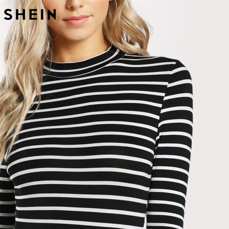 SHEIN Mock Neck Slim Black and White Striped Bodysuit Three Quarter Length Sleeve Autumn Sexy Body Suits for Women