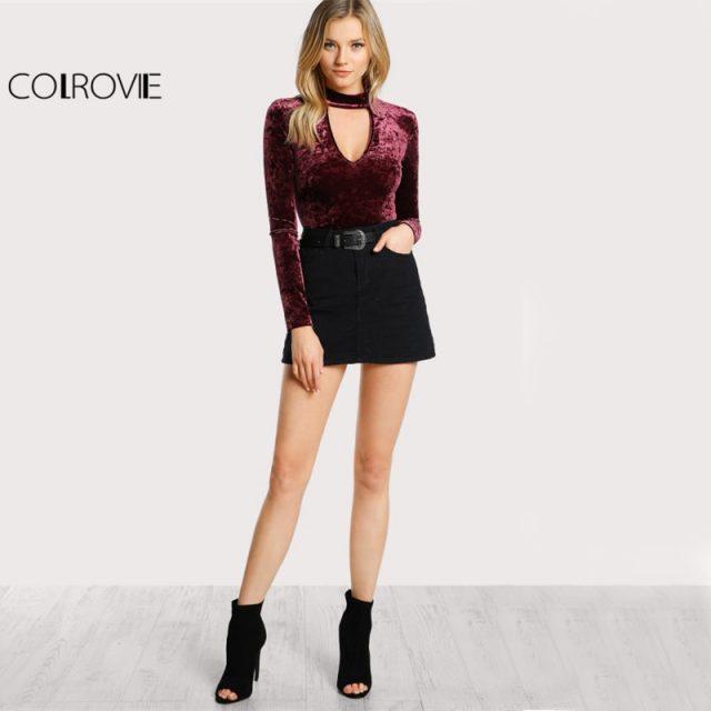 COLROVIE Choker Neck Sexy Skinny Bodysuit Crushed Velvet Women Long Sleeve Burgundy Bodysuits Basic Elegant Autumn Bodysuit