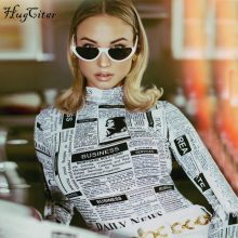 Hugcitar long sleeve high neck letters print sexy bodycon bodysuit 2018 autumn winter women fashion body