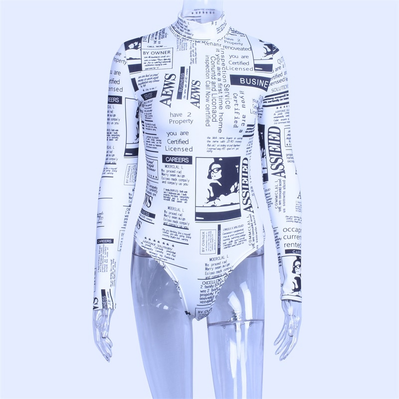 Hugcitar long sleeve high neck letters print sexy bodycon bodysuit 2018 autumn winter women fashion body