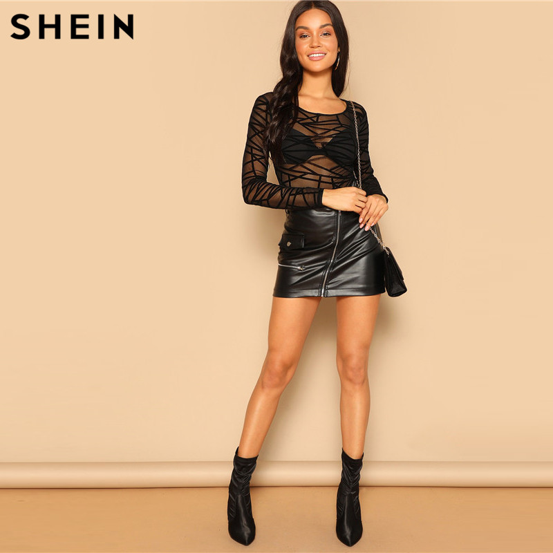 SHEIN Black Sexy Geo Mesh Form Fitted Bodysuit Without Bra Long Sleeve Mid Waist Bodysuit Summer Women Night Out Bodysuits