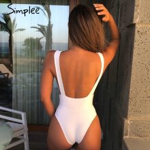 Simplee Sexy red one piece women bodysuit Push up V neck bathing suit swimwear overall Summer sleeveless female solid playsuit