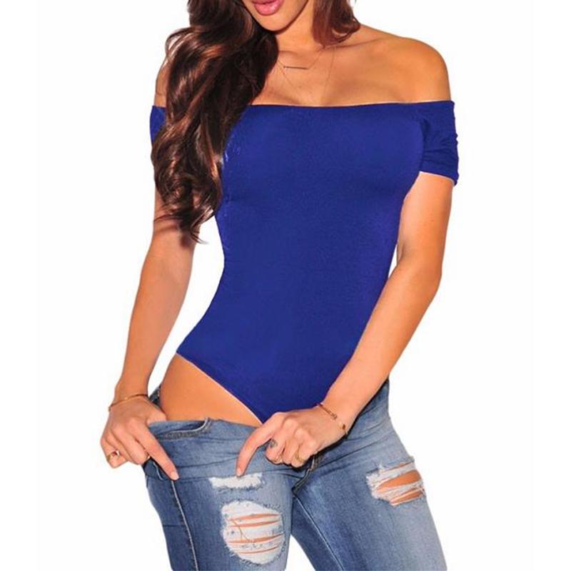 ADEWEL Sexy Short Sleeve Off Shoulder Stretchy Bodysuit Women Bodycon Top Slash Neck Bodysuits Overalls Romper Body Feminino