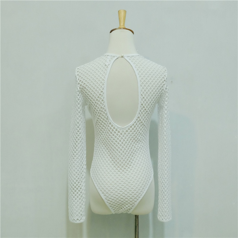 Mesh white bodysuits female body with long sleeves hollow out hole fitness sexy hot slim bodysuit women clothes 2018 spring sale