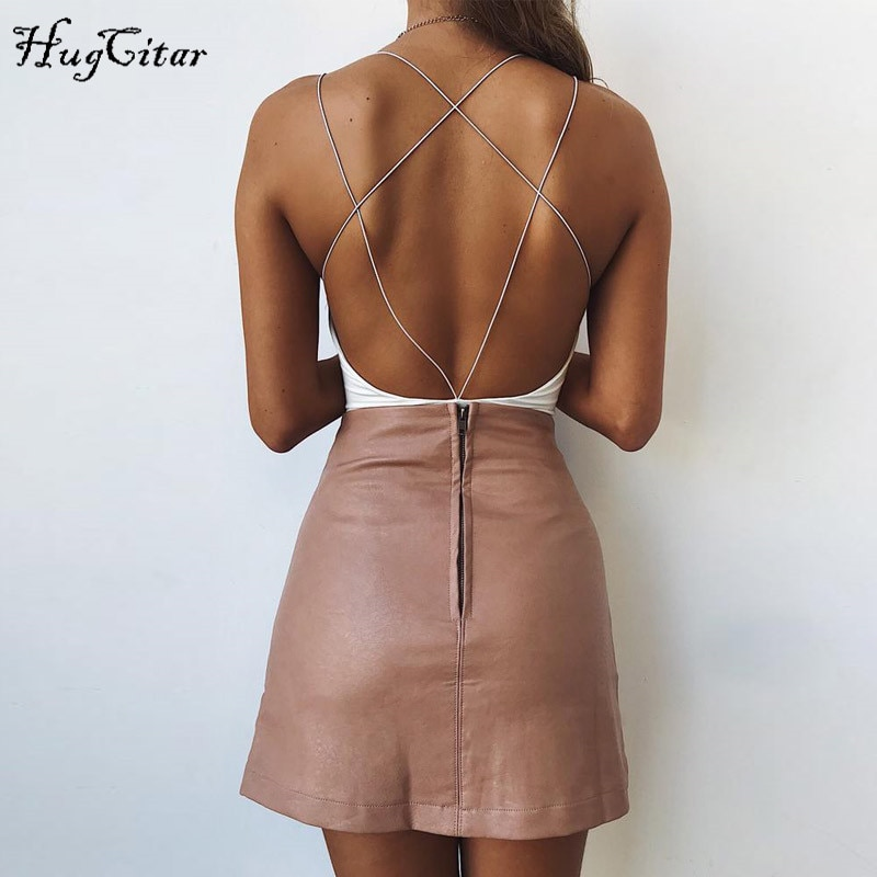 Hugcitar cotton bandage backless sexy Bodycon Bodysuits 2018 Women Casual Female Summer fashion body swimwear red white solid