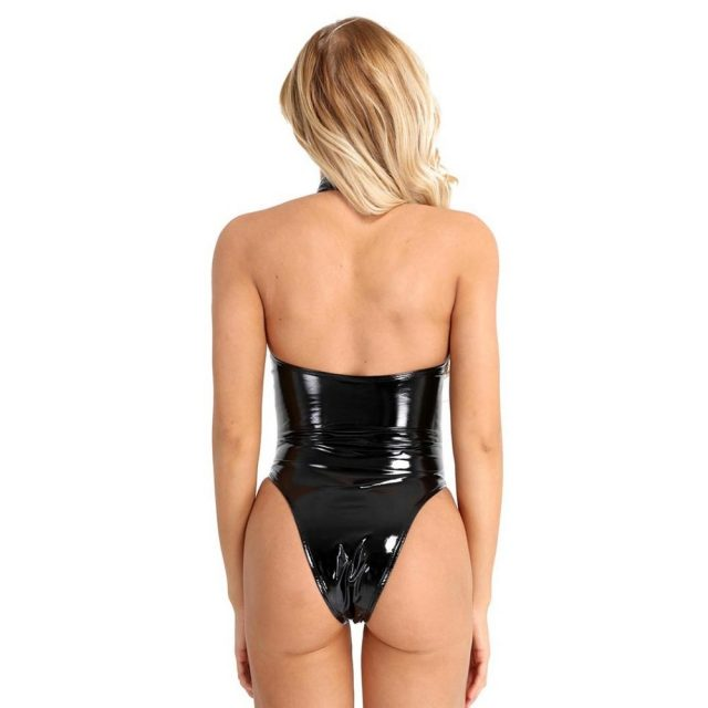 iEFiEL Womens Wetlook Bodystockings High Cut Halter Backless Leotard Bodysuit Sexy Clubwear Bodycon Rompers for Evening Party