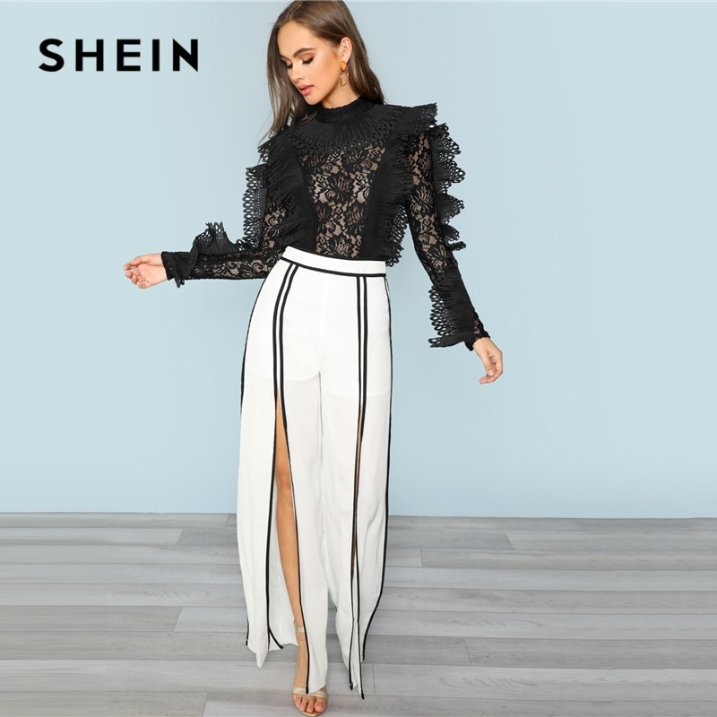 SHEIN Black Party Sexy Ruffle Embellished Sheer Lace Long Sleeve Solid Skinny Bodysuit Autumn Night Out Fashion Women Bodysuits