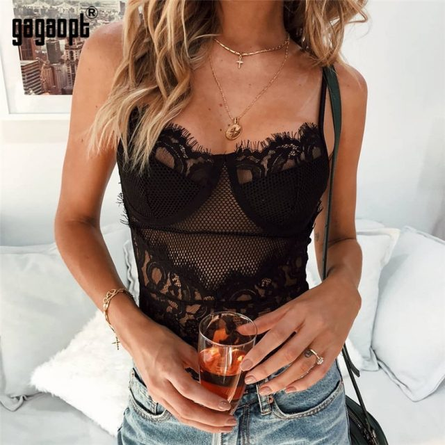 Gagaopt 2018 Lace Bodysuit Women Floral Embroidery Adjustable Strap Sexy Bodysuit Jumpsuit Overalls Streetwear