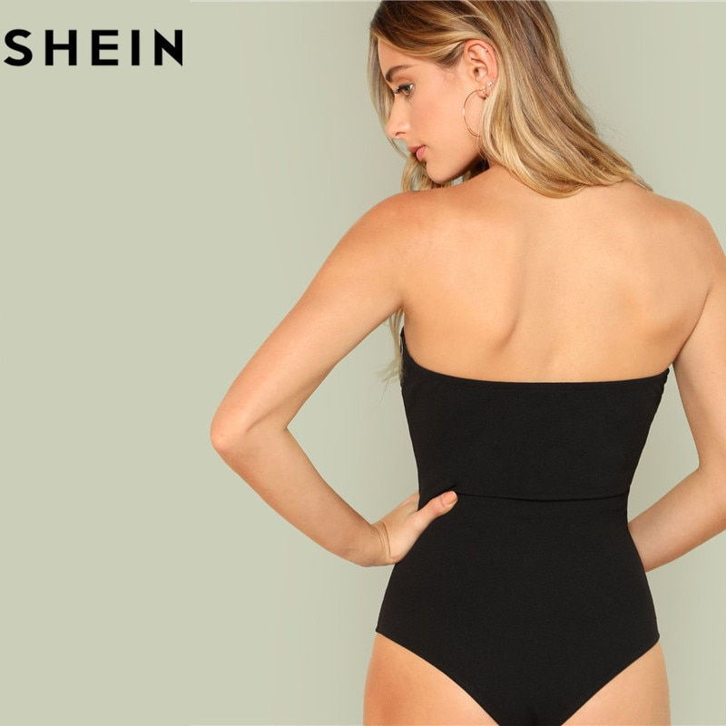 SHEIN Black Sexy Skinny Mid Waist Women Bodysuits 2018 Summer Party Go Out Slim Fitted Plain Sleeveless Strapless Bodysuit New
