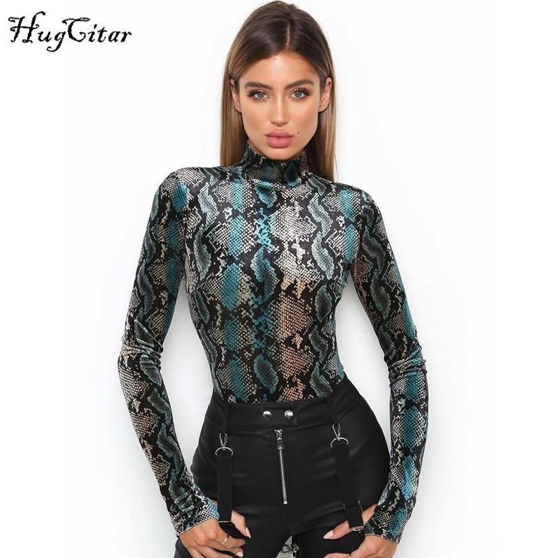 Hugcitar long sleeve green snakeskin grain bodycon sexy high neck bodysuits 2017 winter women street fashion body