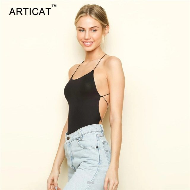 Articat Sexy Lace Up Backless Bodysuit Women Cross Bandage Bodycon Jumpsuits Summer Romper Casual Body Suit Women Tops Overalls