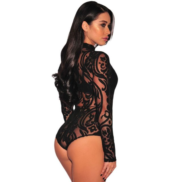 ZKESS Black Stretchy Turtleneck Long Sleeve Sexy Lace Bodysuit 2019 New Spring Mesh Bodysuit for Women Rompers LC32110
