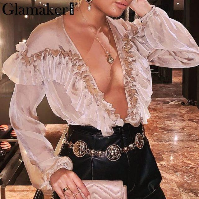 Glamaker Deep v neck transparent mesh ruffle bodysuit Women chiffon long sleeve bodysuit loose overall Sexy female spring romper