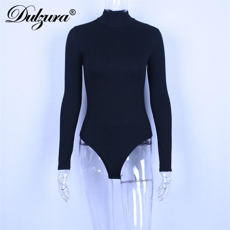 Dulzura long sleeve women bodysuit turtleneck sexy slid 2018 autumn winter female warm clothes slim fit fashion body suit