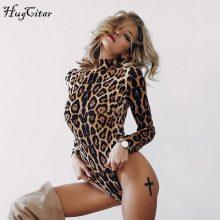 Hugcitar leopard print high neck long sleeve bodycon bodysuit winter spring women fashion casual Christmas party body