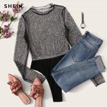 SHEIN Black Sexy Party Frill Neck Semi Sheer Mid Waist Solid Bodysuit Without Bra 2018 Autumn Club Fashion Women Bodysuits