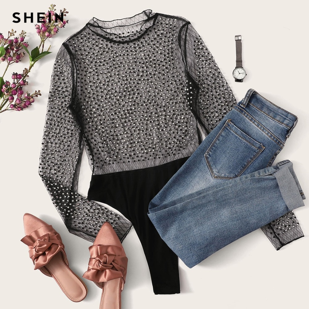 SHEIN Black Sexy Party Frill Neck Semi Sheer Mid Waist Solid Bodysuit Without Bra 2018 Autumn Club Fashion Women Bodysuits