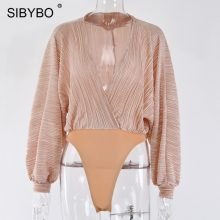 Sibybo Deep V-Neck Patchwork Sexy Bodysuit Women Fashion Long Sleeve Loose Women Rompers Spring Casual Bodysuit Jumpsuit 2019